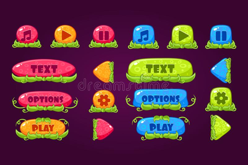 Colorful set of various buttons for computer game or mobile app. Play, pause, sound, options, board for menu. Place for vector illustration