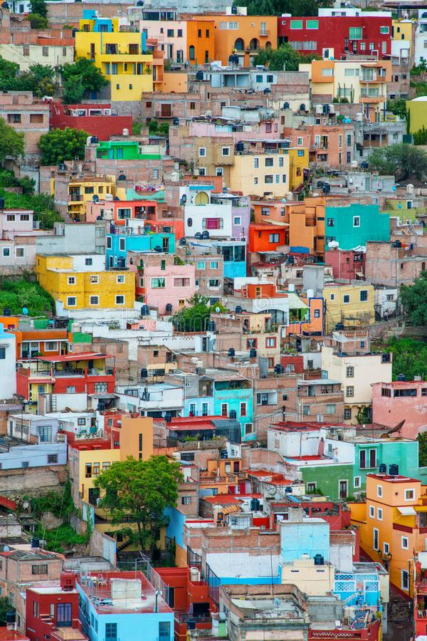 Colorful crowd american city architecture in hill, Guanajuato, Mexico. Colorful colonial architecture city in hill, which was built in silver mining age, with stock image