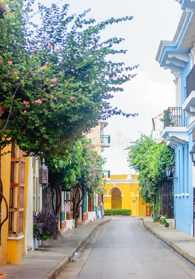 Colorful colonial buidlings in the streets of Cartagena stock image