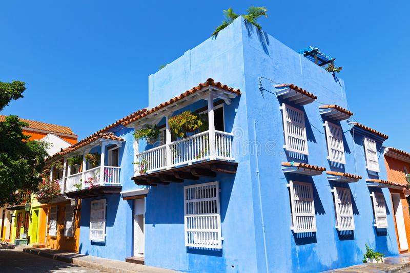 Colorful colonial buildings in Cartagena walled city, Colombia. Beautiful historic buildings with balconies. Beautiful historic buildings with balconies with stock image