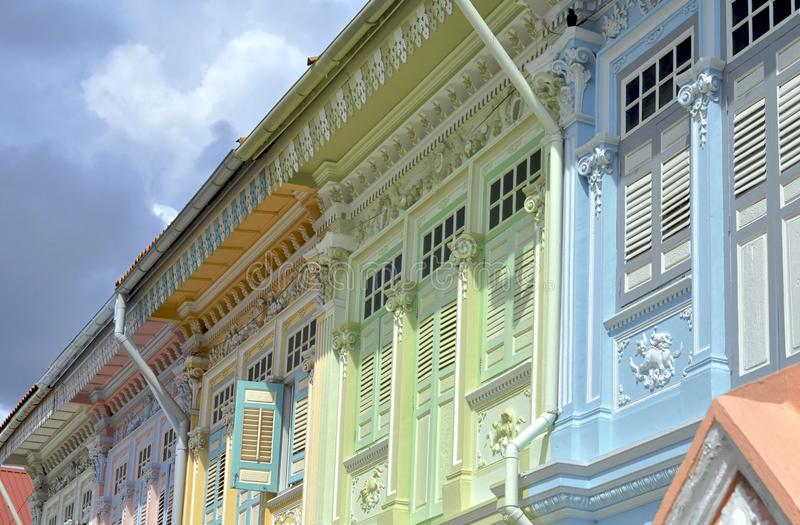 Colorful Colonial Houses. A row of colorful colonial houses in Singapore stock image