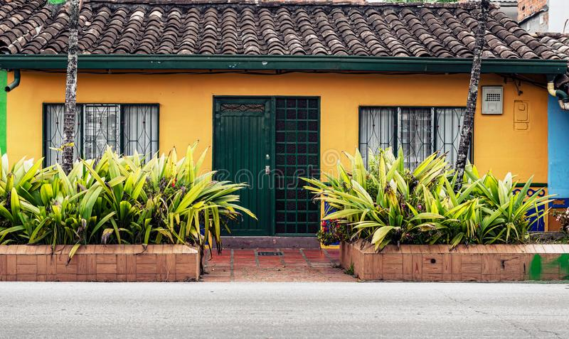 Colorful colonial houses on a street in Guatape, Antioquia in Co stock image