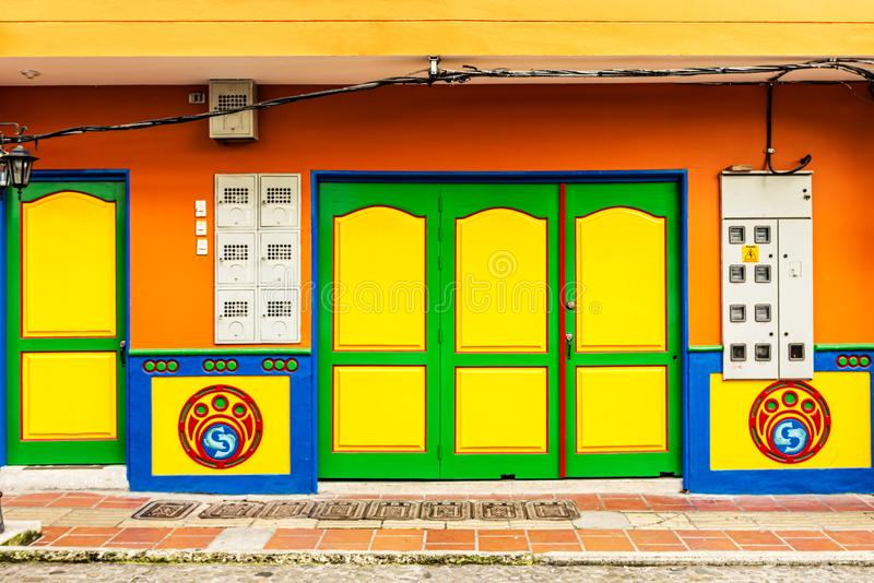 Colorful colonial houses on a street in Guatape, Antioquia in Co stock images