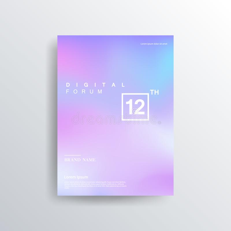 Colorful color brochure design, abstract cover design, iridescent background. Trendy Minimalistic Fluid Blurred Gradient Black A4 Poster Design. Modern royalty free illustration