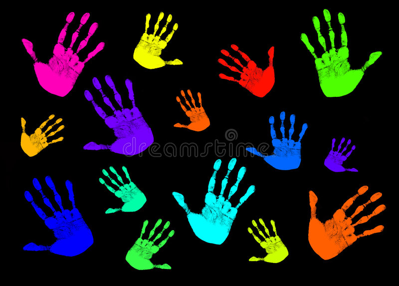 Colorful Color Graphic Hands royalty free illustration