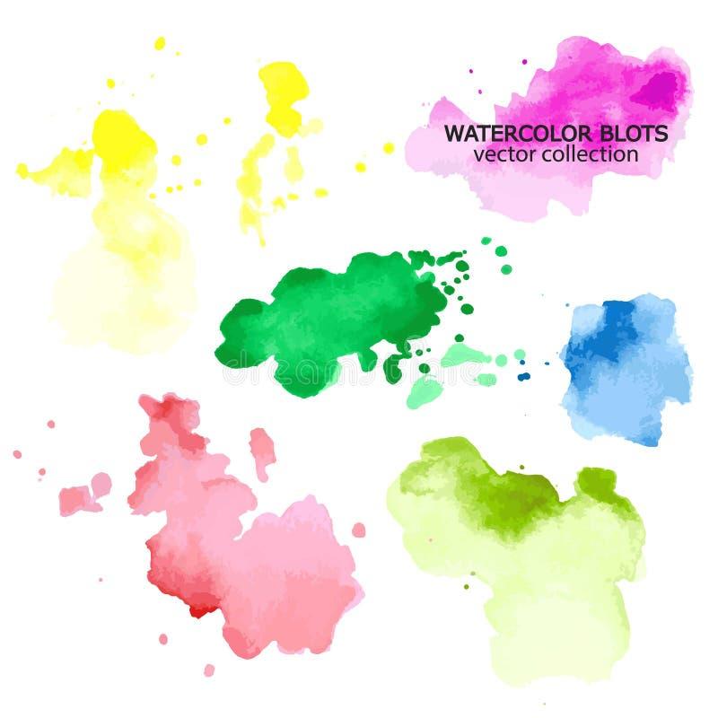 Colorful colors watercolor paint stains backgrounds set vector illustration