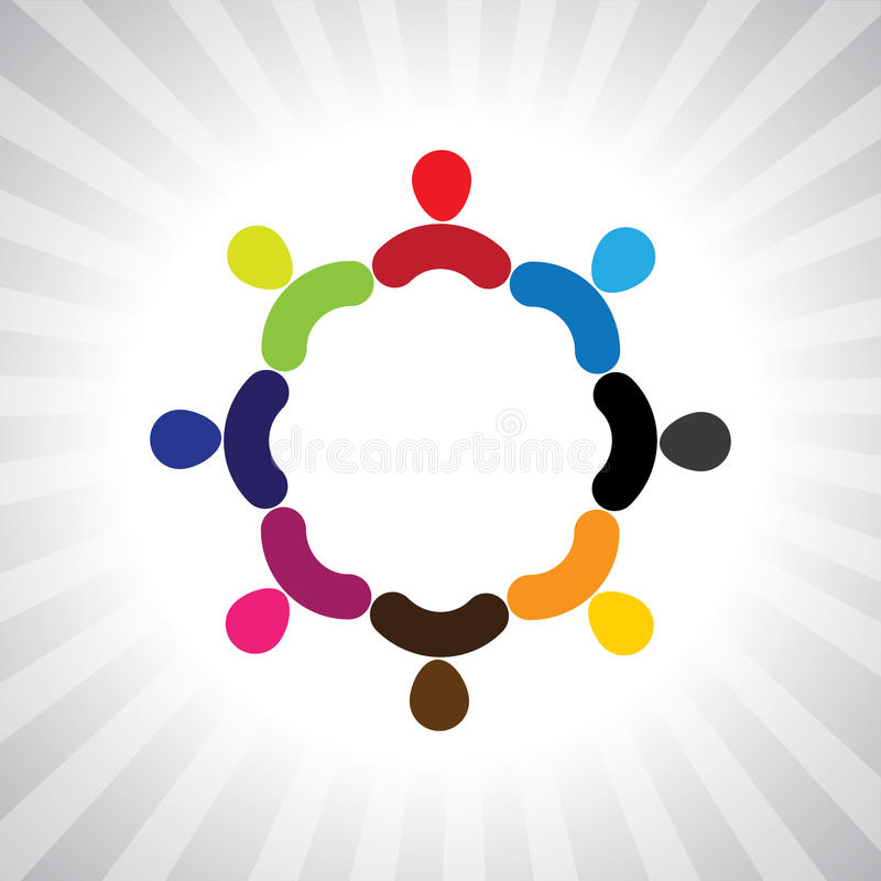 Colorful community of people as a circle- simple vector graphic vector illustration