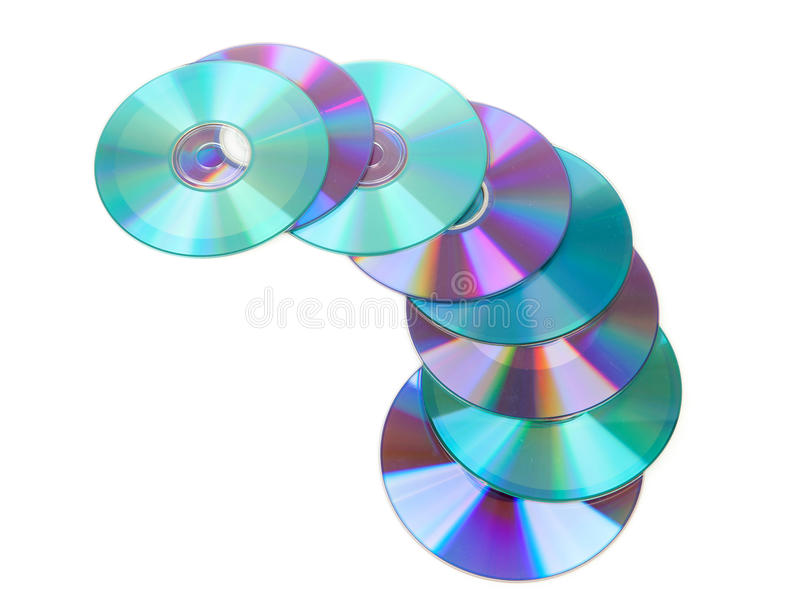 Colorful compacs discs-CDs. Colorful compact discs-CDs isolated on white background royalty free stock photo