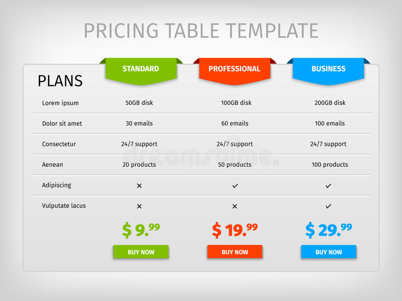 Colorful Comparison Pricing Table Template Stock Vector  Image