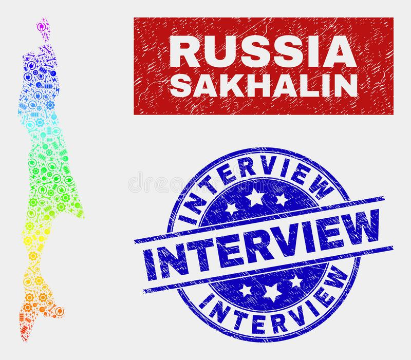Colorful Component Sakhalin Island Map and Distress Interview Stamps. Construction Sakhalin Island map and blue Interview grunge seal stamp. Spectrum gradiented vector illustration