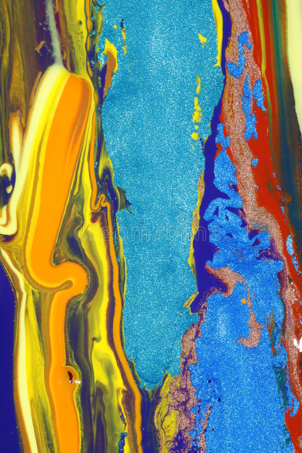 Colorful composition. Composition of abstract colorful paints containing glittering particles in different colors stock photo
