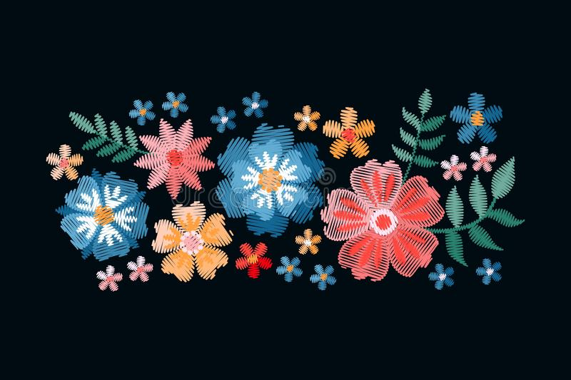Colorful composition with embroidered summer flowers. Imitation of satin stitch. Vector illustration stock illustration
