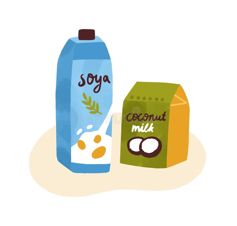Free Colorful Composition Of Soymilk And Coconut Milk In Tetrapaks. Organic Dairy Protein Products For Vegetarians Isolated Royalty Free Stock Photos - 201512898