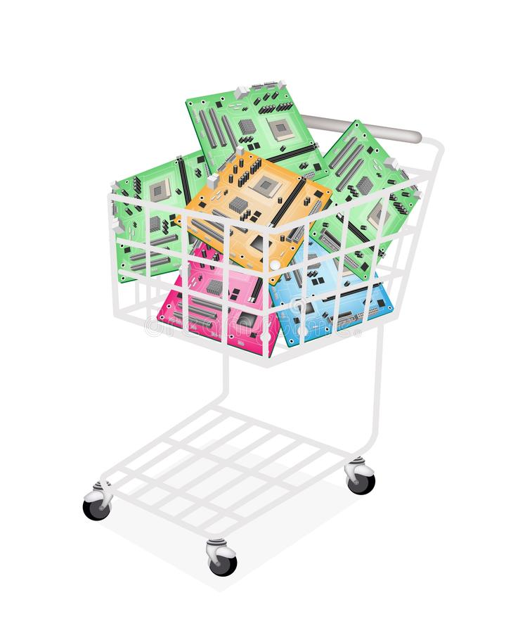 Download Colorful Computer Motherboard In A Shopping Cart Stock Photo - Image: 34387850