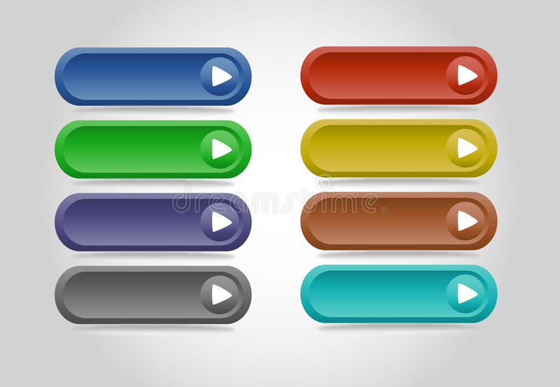 Colorful concave web buttons. royalty free illustration