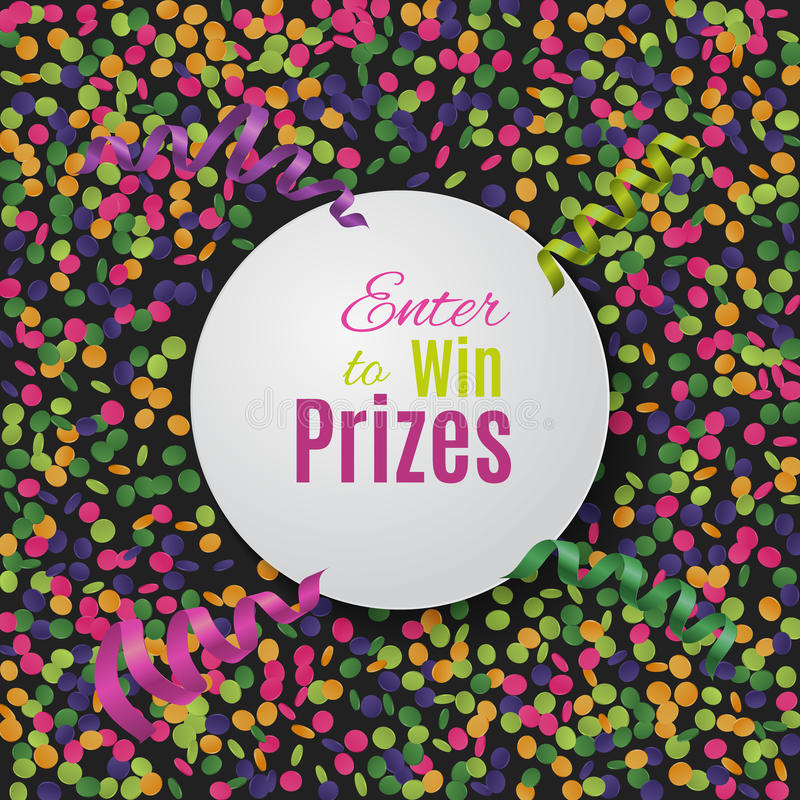 Colorful confetti background with round plate. vector illustration