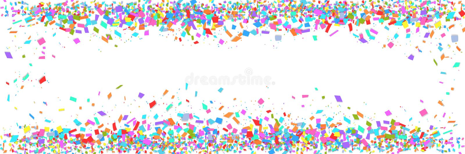 Colorful confetti border isolated on white background with copy space. Abstract frame template for holiday banner, birthday. Or children party, carnival vector illustration