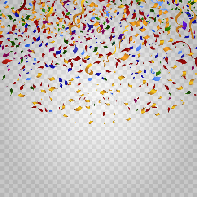 Colorful confetti on checkered background. Vector template royalty free illustration