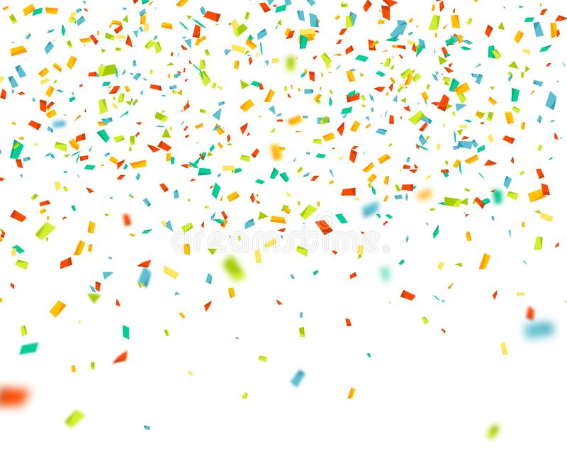 Colorful confetti falling randomly. Abstract background with flying particles. Vector illustration for greeting card vector illustration