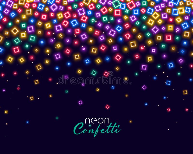 Colorful confetti in neon shiny lights background royalty free illustration