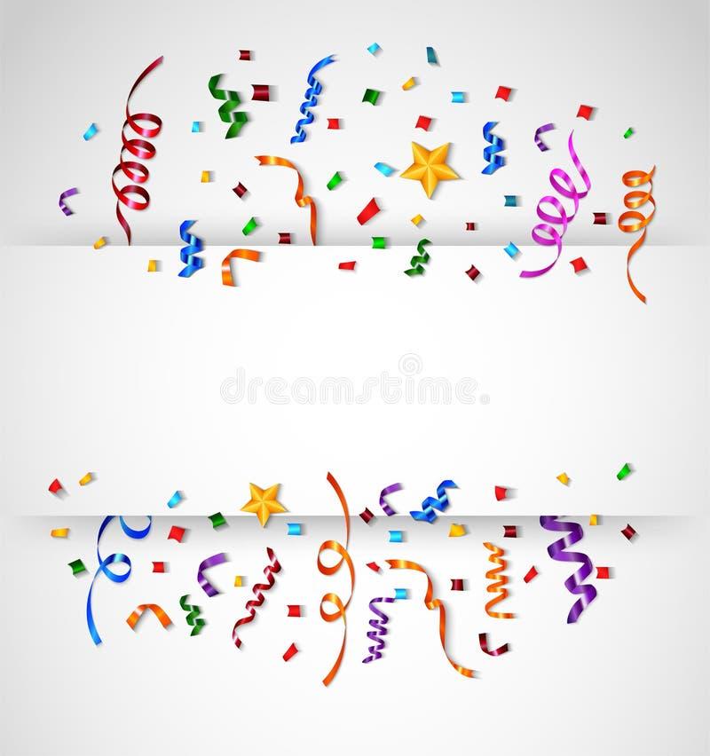 Colorful Confetti on White Background stock illustration