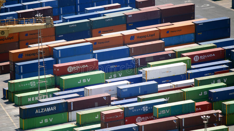 Colorful containers in a port royalty free stock photo