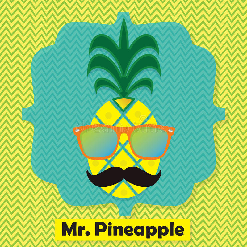 Colorful cool Mr. Pineapple fruit emblem icon on chevron pattern. Background vector illustration