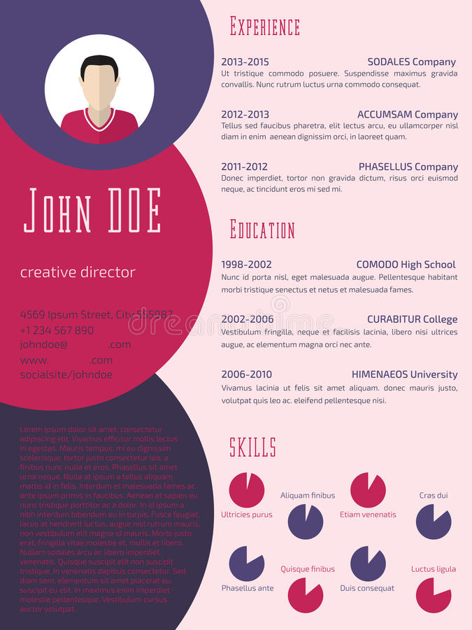 Download Colorful Cool Resume Cv Template Stock Illustration    Illustration: 57724950  Resume Or Curriculum Vitae