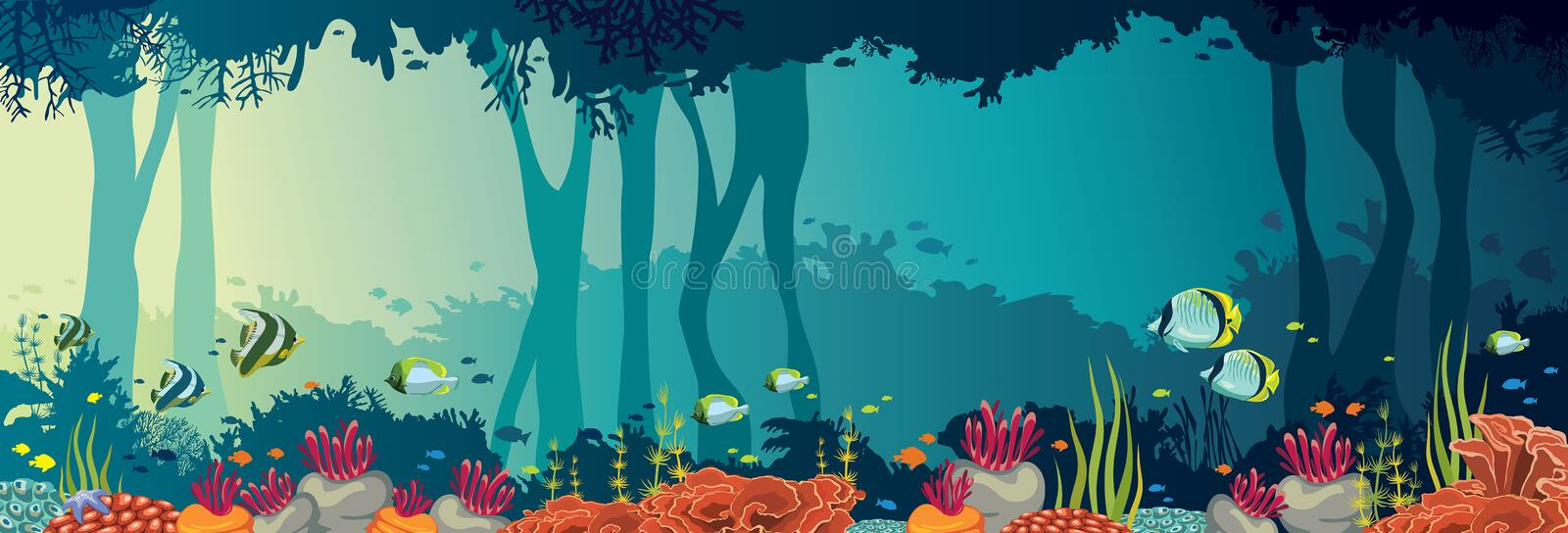 Coral reef, fish, underwater cave, sea, panoramic ocean. Colorful coral reef with school of fishes and underwater cave on a sea background. Nature panoramic vector illustration