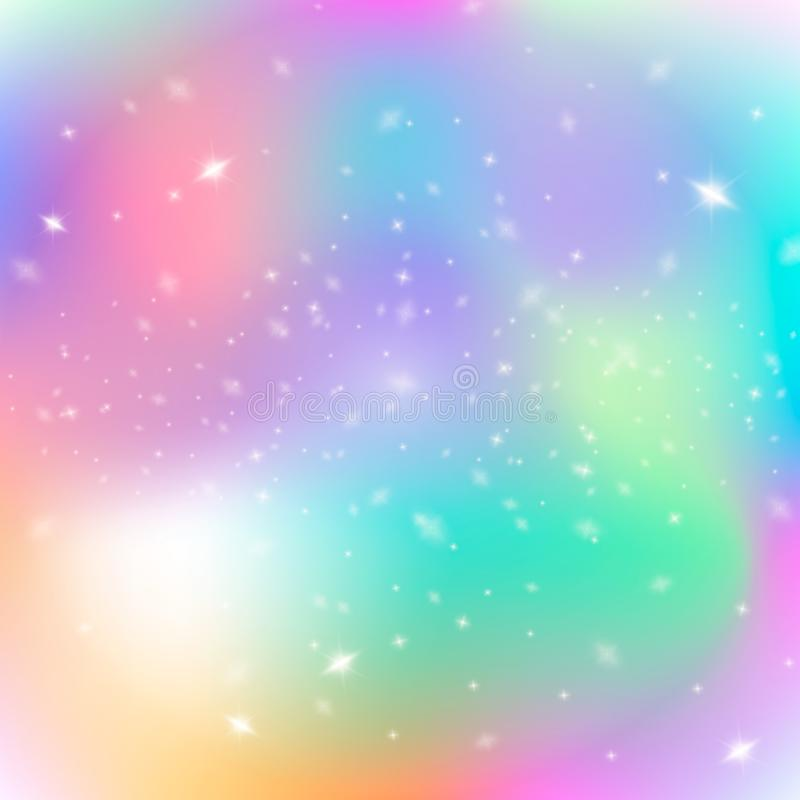 Colorful Cosmic Background with Light, Shining Stars. Vector Illustration for artwork, party flyers, posters, banners. Fantasy gra vector illustration