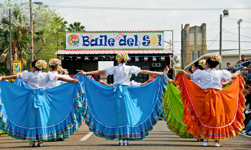 Colorful costumes at festival stock image