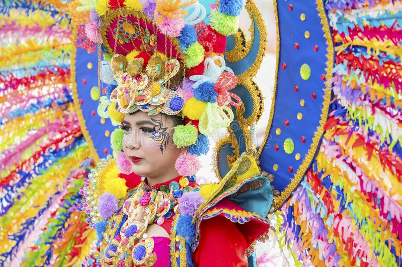 Colorful costumes worn by a participant stock photos