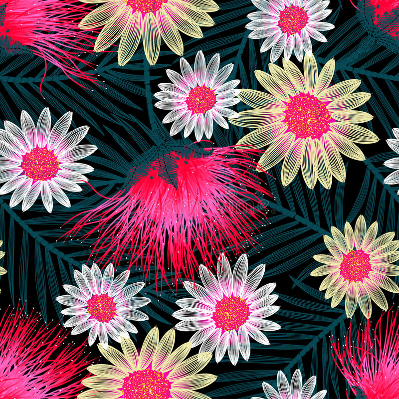 Colorful cottage floral embroidery seamless pattern.  vector illustration