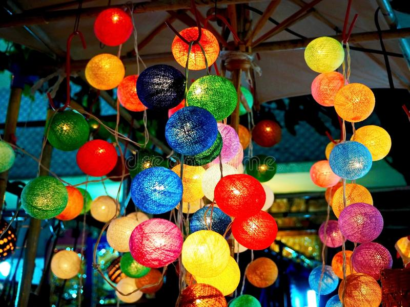 Colorful Cotton Ball String Lights royalty free stock images