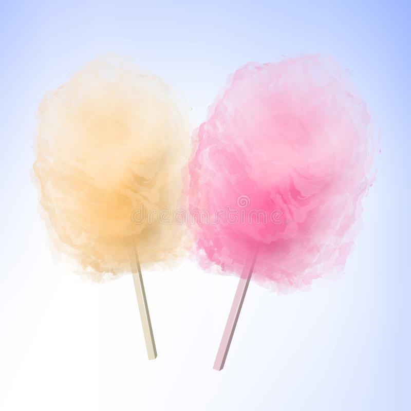 Colorful Cotton candy. Sugar clouds 3d vector illustration stock photography