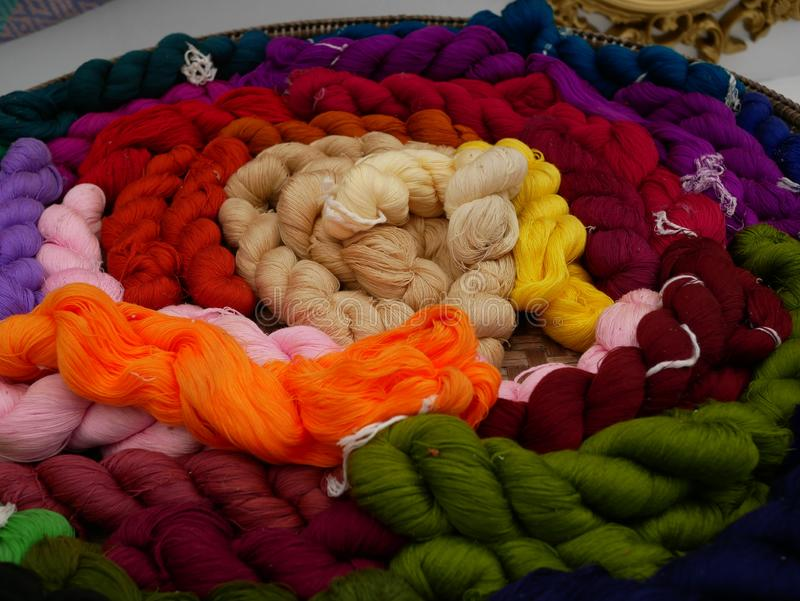Colorful cotton threads royalty free stock photo