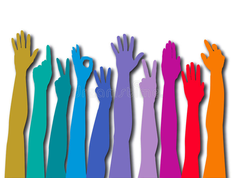 Colorful counting hands vector illustration