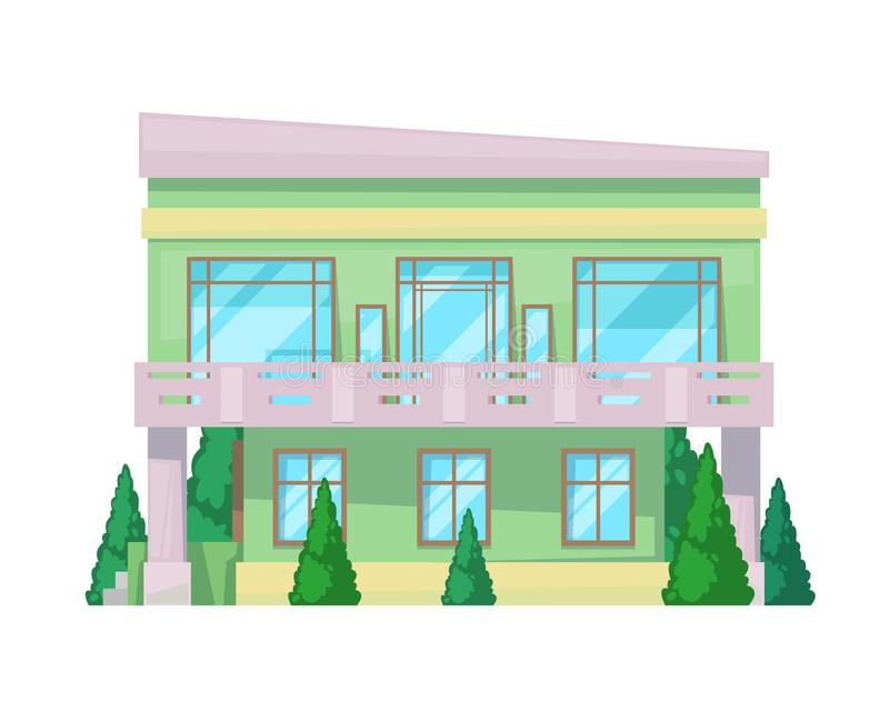Colorful country house, family cottage, mansion recreation, real estate. Facade of residential building. Two-storey family house with balcony and many rooms vector illustration