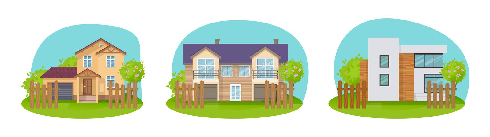 Colorful country houses, holiday mansions, cottages, hotels and guesthouse. royalty free illustration
