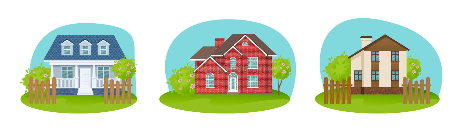 Colorful country houses, private sectors home, guesthouse, summer ranch. royalty free illustration