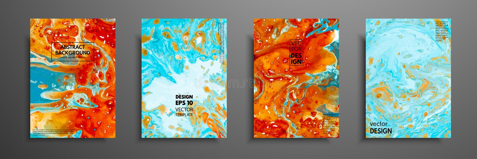Colorful covers design set with textures. Closeup of the painting. Abstract bright hand painted background, fluid. Acrylic painting on canvas. Fragment of vector illustration