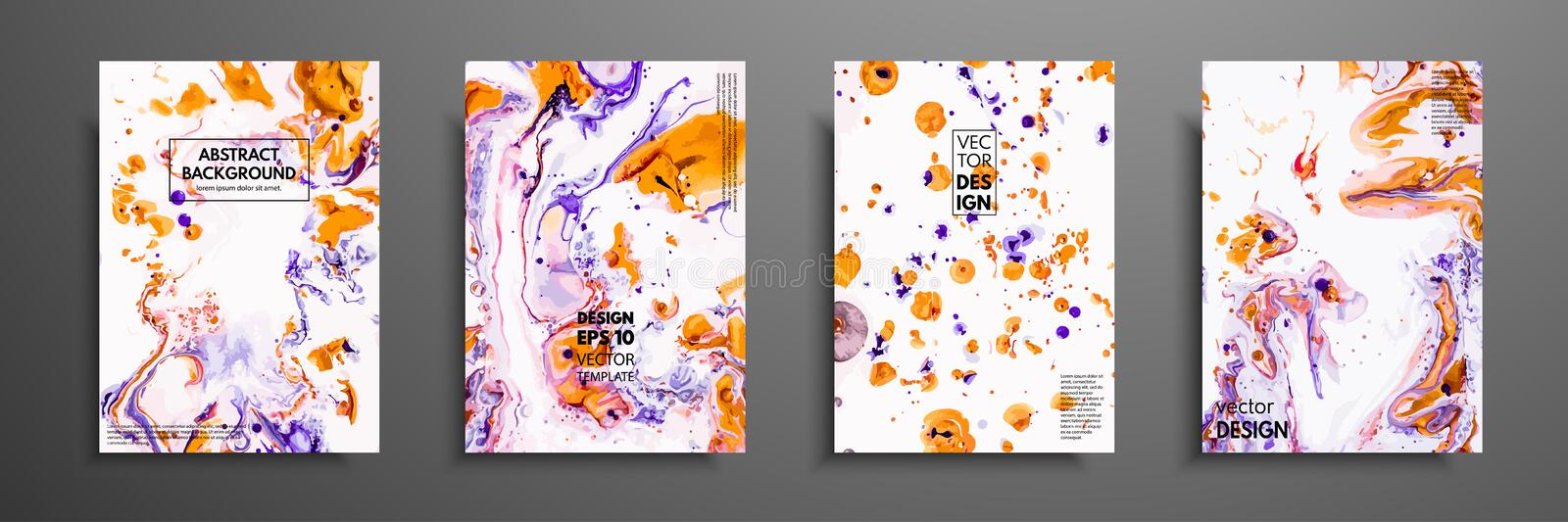 Colorful covers design set with textures. Closeup of the painting. Abstract bright hand painted background, fluid acrylic painting stock illustration