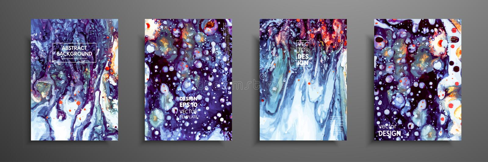 Colorful covers design set with textures. Closeup of the painting. Abstract bright hand painted background, fluid stock illustration