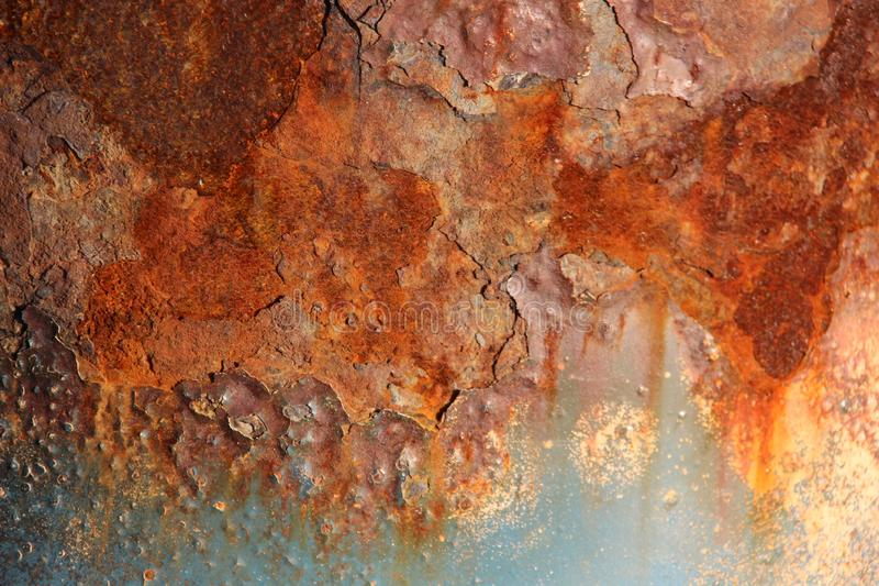Colorful Of Cracked Rusty. Corrodes Rusty texture on metal. Multicolored rusty steel of bridge pillar on Baltic seaside in Germany stock photos