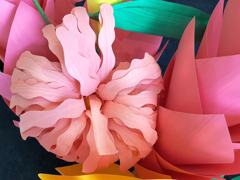 Colorful Craft Flowers Made of Color Papers. For Room Decoration stock images