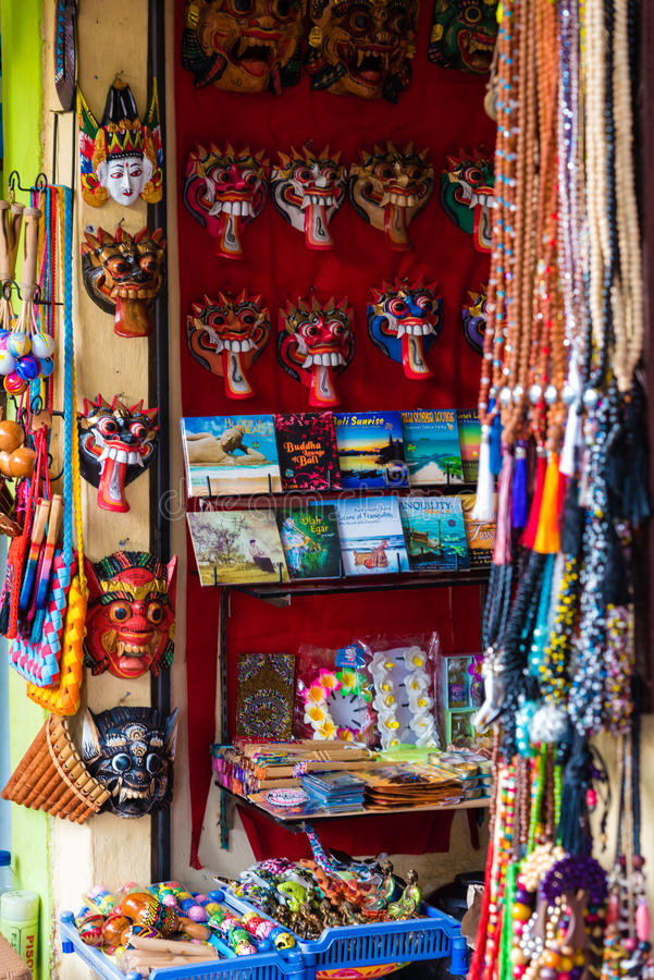Colorful crafts for sale at local market in Ubud, Bali stock images