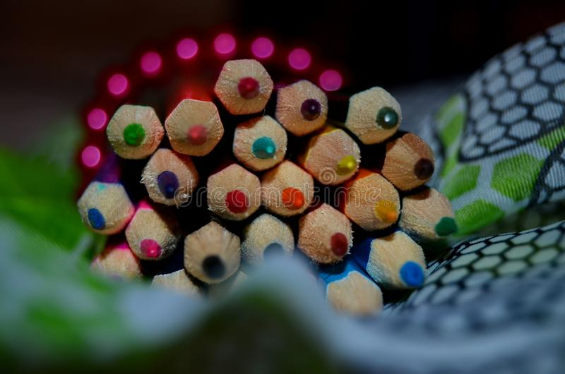 Colorful crayons. A bunch of colorful crayons royalty free stock photos