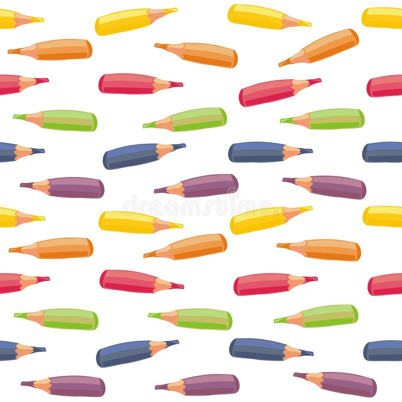 Colorful crayons in horizontal rows. Colorful crayons seamless pattern with rows of elements in horizontal on white background royalty free illustration