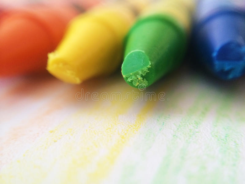 Colorful Crayons. Macro shot of well used brightly colored crayons stock images