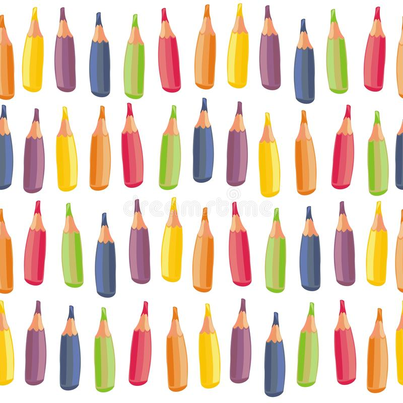 Free Colorful Crayons On White Seamless Pattern Royalty Free Stock Photography - 27548647
